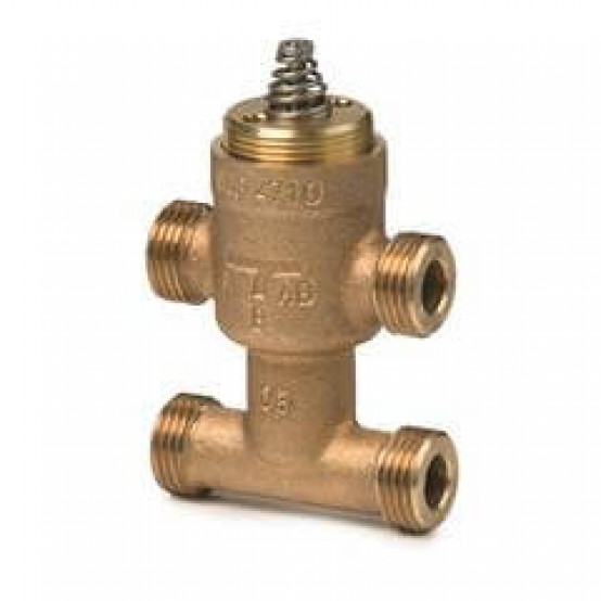Клапан регулирующий с байпассом, седельный, 3-ходовой, внешняя резьба, PN16, DN10, KVS 2.5