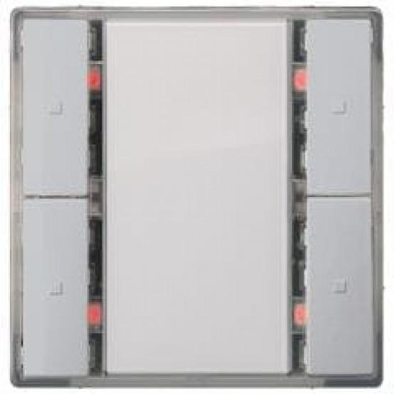 Выключатель кнопочный, двойной, светодиод состояния, алюминиевый металлик