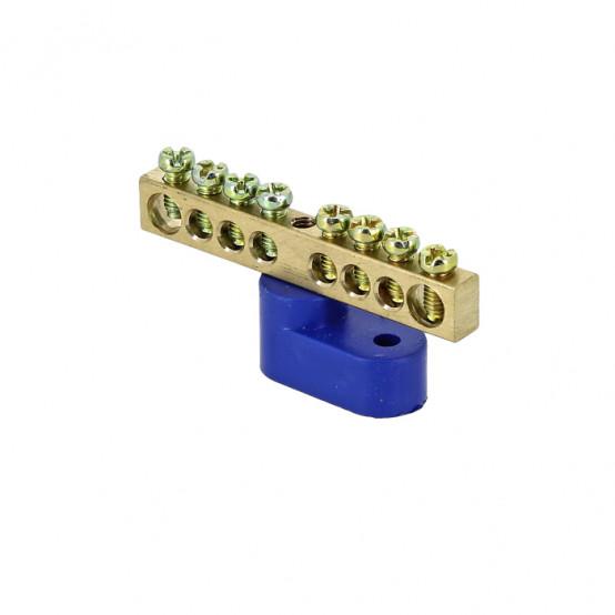 """Шина """"0"""" N (6х9мм) 8 отверстий латунь синий угловой изолятор EKF PROxima"""