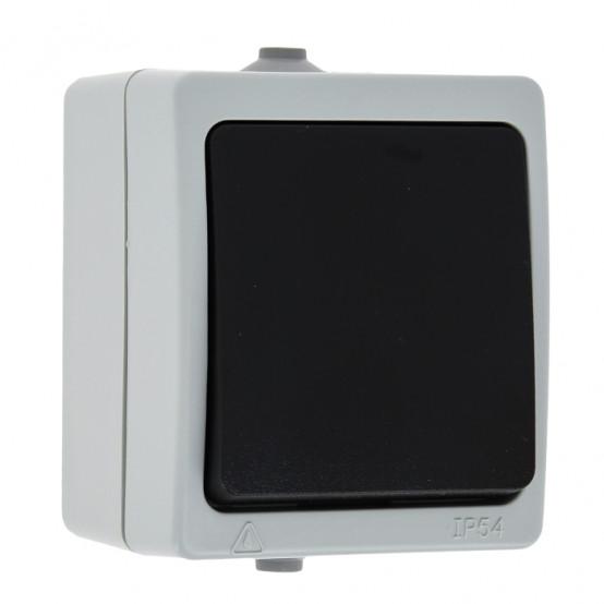 Венеция Выключатель 1 -клавишный 10А IP54 серый EKF
