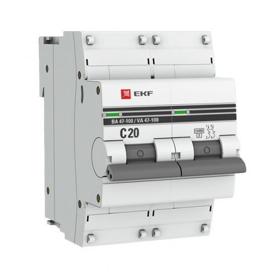 Автоматический выключатель 2P 20А (C) 10kA ВА 47-100 EKF PROxima