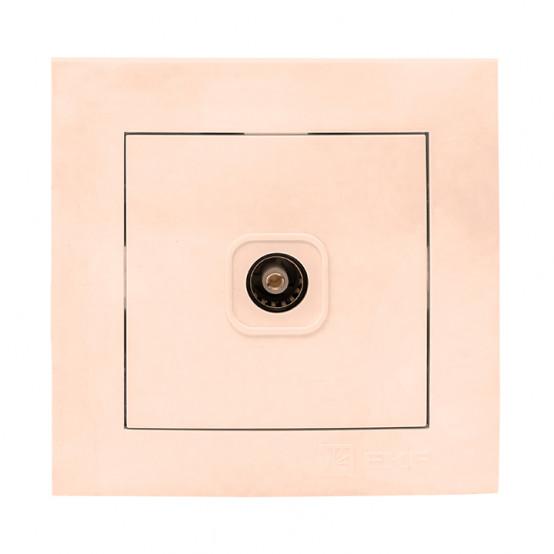 Валенсия розетка телевизионная 1-местная 75Ом 5-862МГц кремовая EKF PROxima