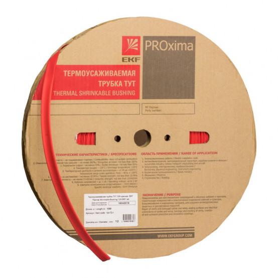 Термоусаживаемая трубка ТУТ нг 8/4 красная рулон EKF PROxima