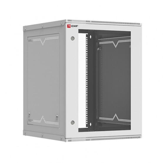 Шкаф телекоммуникационный настенный разборный 15U (600х650) дверь стекло, Astra серия EKF PROxima