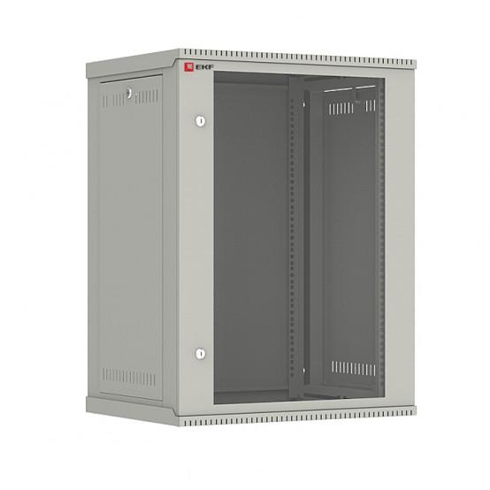 Шкаф телекоммуникационный настенный разборный 15U (600х450) дверь стекло, Astra E серия EKF PROxima