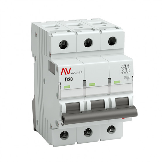 Выключатель автоматический AV-10 3P 20A (D) 10kA EKF AVERES